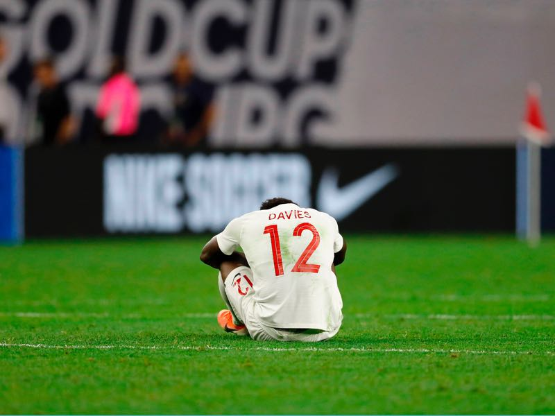 Alphonso Davies - Canada's midfielder Alphonso Davies shows his frustration after his team lost the CONCACAF Gold Cup Quarterfinal football match against Haiti on June 29, 2019 at NRG Stadium in Houston, Texas. (Photo by AARON M. SPRECHER / AFP)