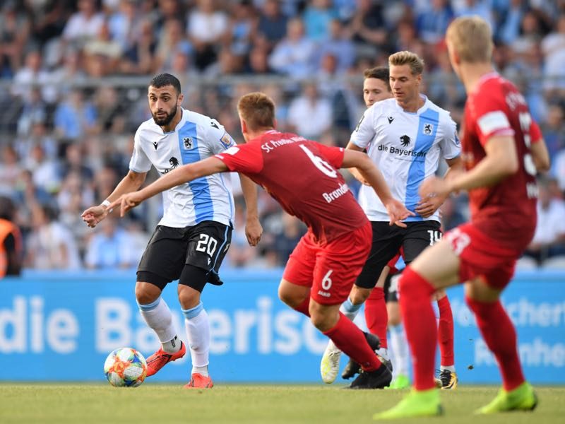 Efkan Bekiroglu of TSV 1860 Muenchen passes the ball during the 3. Liga match between TSV 1860 Muenchen and Preussen Muenster at Stadion an der Gruenwalder Straße on July 19, 2019 in Munich, Germany. (Photo by Sebastian Widmann/Getty Images for DFB)