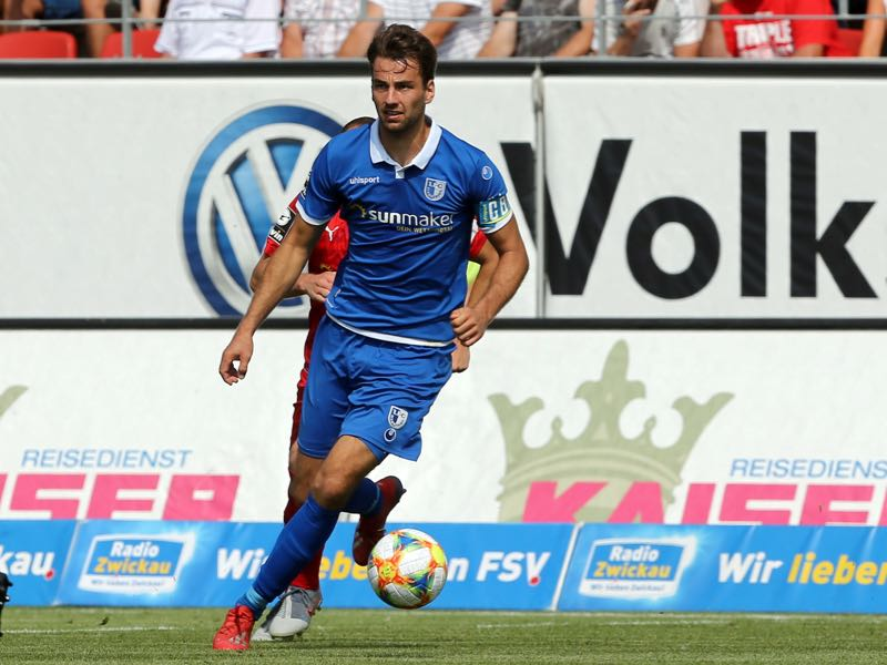 Christian Beck of Magdeburg runs with the ball during the 3. Liga match between FSV Zwickau and 1. FC Magdeburg at Stadion Zwickau on July 28, 2019 in Zwickau, Germany. (Photo by Matthias Kern/Getty Images for DFB)