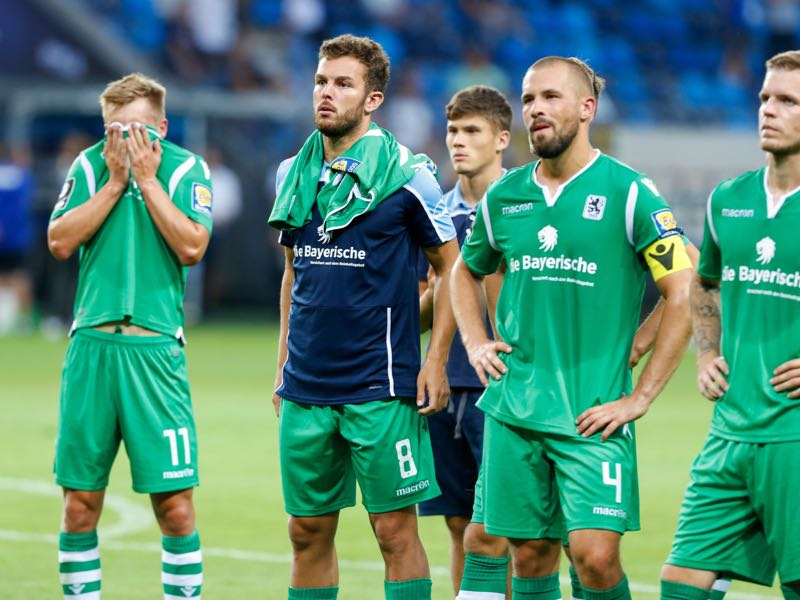 Fabian Greilinger (on the very left) shows his frustration following 1860's defeat to Waldhof Mannheim. (Photo by Jörg Halisch/Getty Images for DFB)
