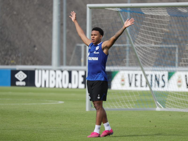 Weston McKennie of Schalke reacts during the FC Schalke 04 training session at Training Ground on August 06, 2019 in Gelsenkirchen, Germany. (Photo by Christof Koepsel/Bongarts/Getty Images)