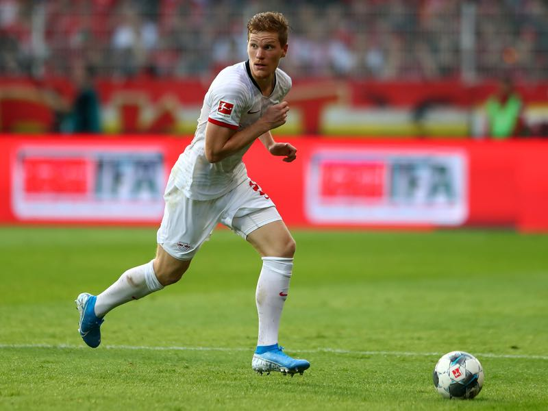Marcel Halstenberg of Leipzig runs with the ball during the Bundesliga match between 1. FC Union Berlin and RB Leipzig at Stadion An der Alten Foersterei on August 18, 2019 in Berlin, Germany. (Photo by Martin Rose/Bongarts/Getty Images)