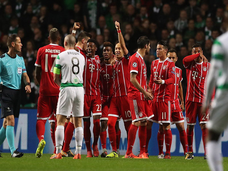 Bayern players celebrate Kingsley Coman's opening goal against Celtic (Photo by Ian MacNicol/Getty Images)