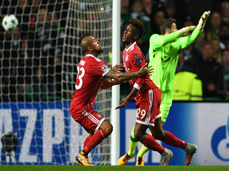 Bayern Munich's French forward Kingsley Coman celebrates after scoring for Bayern Munich at Celtic Park in Glasgow, on October 31, 2017 - PAUL ELLIS/AFP/Getty Images